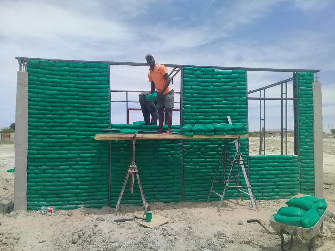 Earthbags building a hotel in Namibia